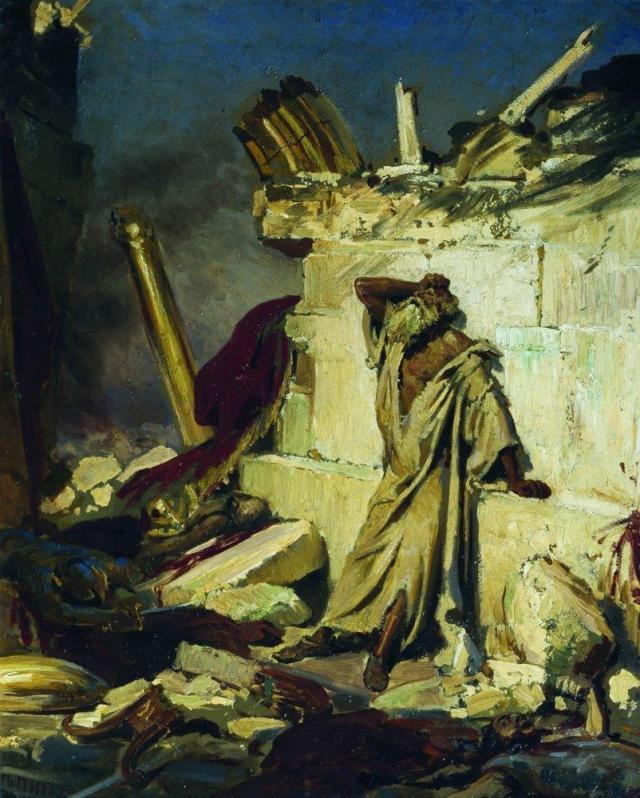 cry-of-prophet-jeremiah-on-the-ruins-of-jerusalem-on-a-bible-subject-1870